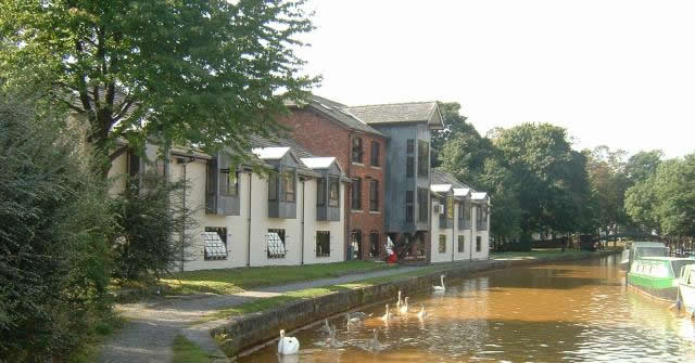 canal view of the rescom offices at the granary worsley